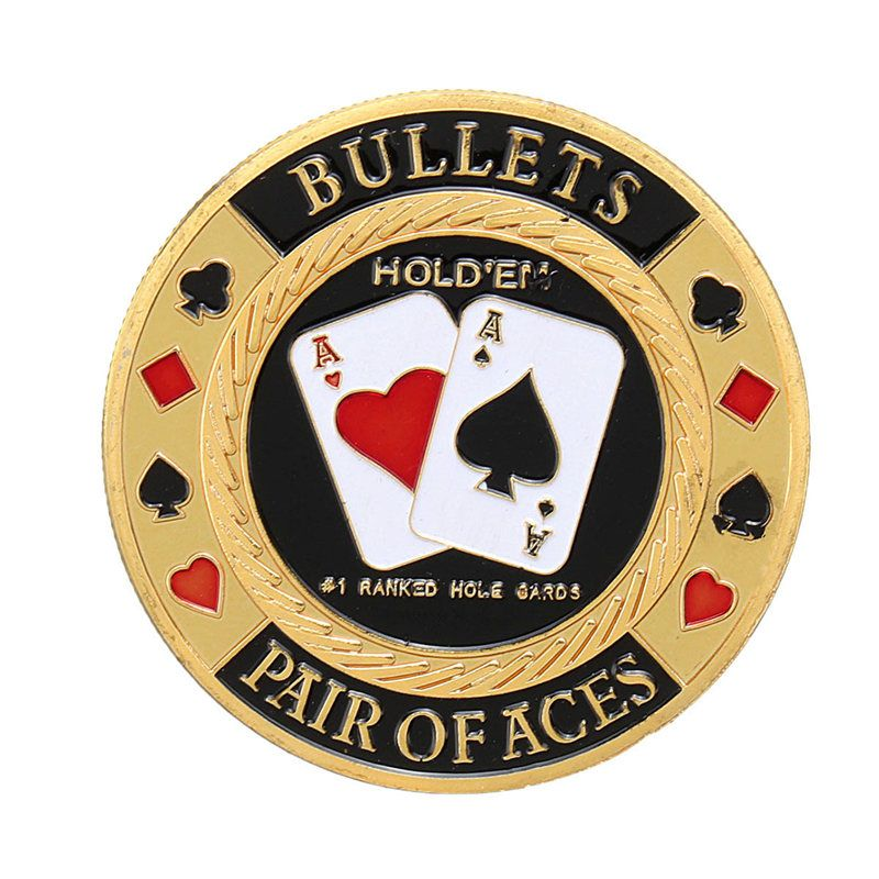 Metal Poker Chip Guard Card Protector Coin Pair Of Aces