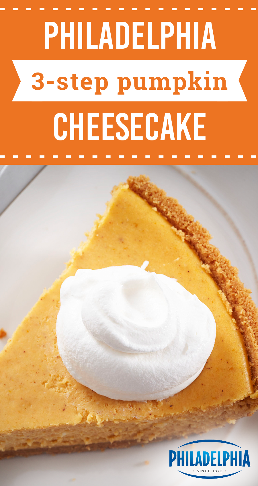 PHILADELPHIA 3-STEP Pumpkin Cheesecake – Mix, pour, bake—that's all you have to do for this fall dessert recipe! This quick autumnal treat has fall written all over it. #pumpkincheesecake