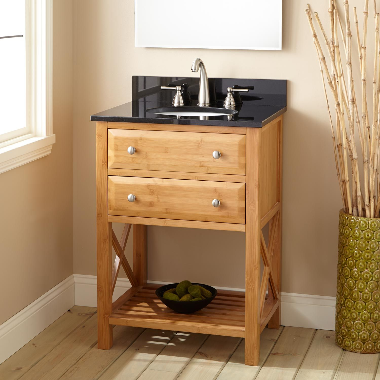 "24 Inch Bathroom Vanity With Legs 24"" narrow depth clinton bamboo vanity for undermount sink"