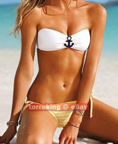 Print Anchor Women Bikini Nautical Metallic Bandeau Rope Sexy 9D2HYIWE