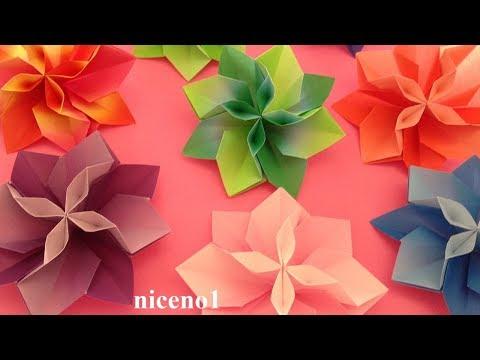 折り紙 花 1枚 立体 の折り方2 Origami Flower Tutorial Niceno1 Origami Blume Blumen Falten Origami Rose