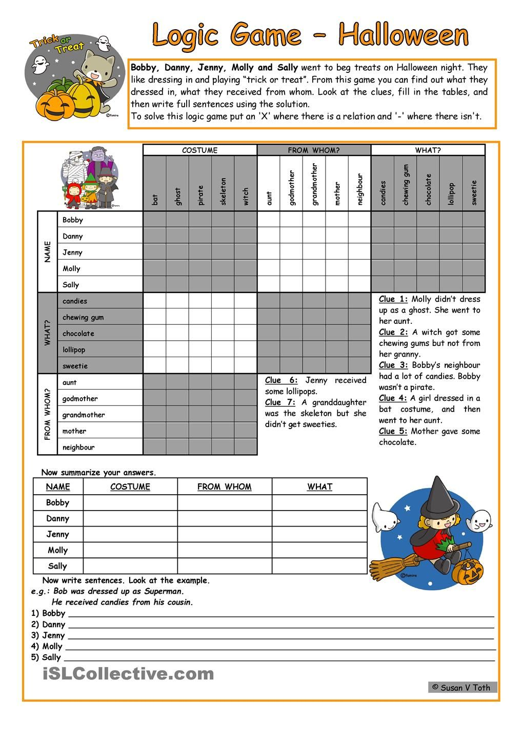 Logic game (34th) - Halloween * elementary * with key * with B&W