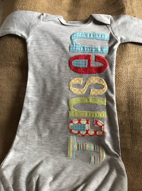 Personalized appliqué infant gown, boy name gown, baby boy shower ...