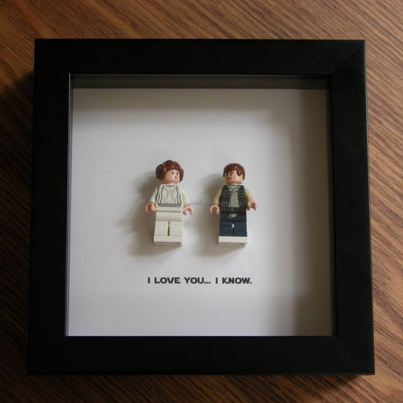 Art Frame Feature Two Lego Star Wars Minifigures Han Solo Princess Leia With The Famous Quote I Lo Star Wars Framed Art Lego Frame Picture Frame Display