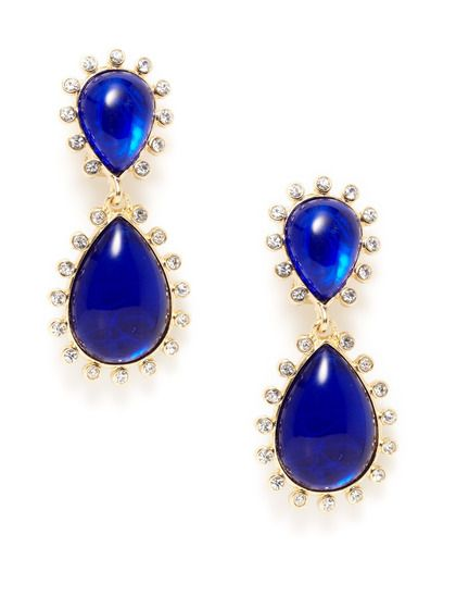 Kenneth Jay Lane Crystal Drop Earrings, Blue