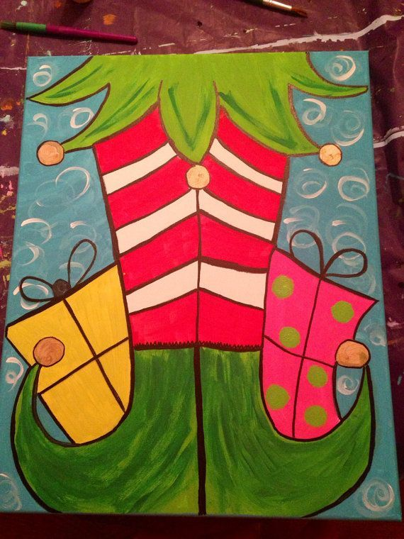 These Whimsical Elf Feet Would Be Perfect In Any House For The Christmas Holidays Paintings On CanvasCanvas KidsChristmas