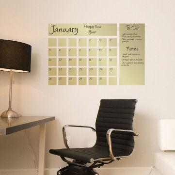 Dry Erase Calendar Decal In Gold Dry Erase Calendar Decal