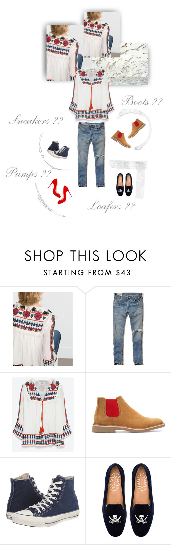 """""""Sneakers;Boots;Loafers or Pumps??????"""" by mycoolestavatar ❤ liked on Polyvore featuring Zara, Hollister Co., Converse, Stubbs & Wootton, Christian Louboutin, women's clothing, women's fashion, women, female and woman"""
