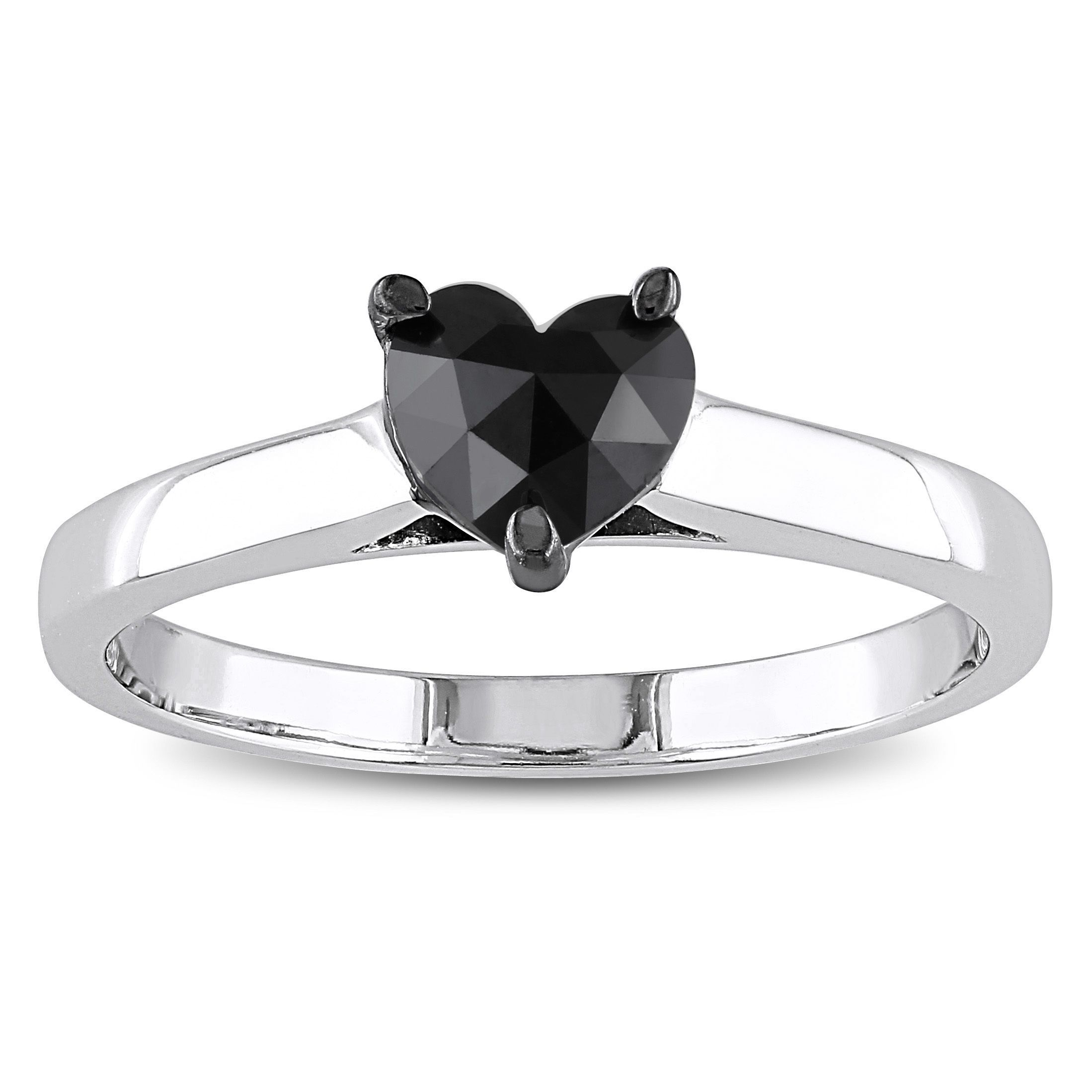 2ct Tdw Black Diamond Heart Solitaire Ring By  Miadora