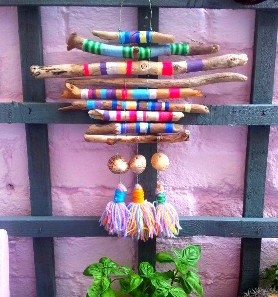 Handbemalte Strand Treibholz Dreamcatcher Textile Wandbehang Boho Hippie Ibiza ... #bemaltestöcke