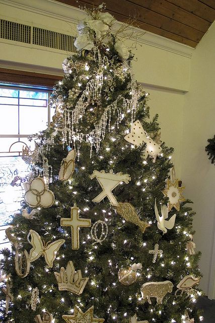Chrismon tree ornaments made with Styrofoam and gold trims. - Chrismon Tree Best Guide To Chrismons For Christmas Pinterest