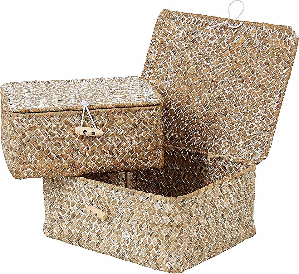 Boite De Rangement En Jonc De Mer X2 Gifi 514689x Decorative Boxes Basteln Decor
