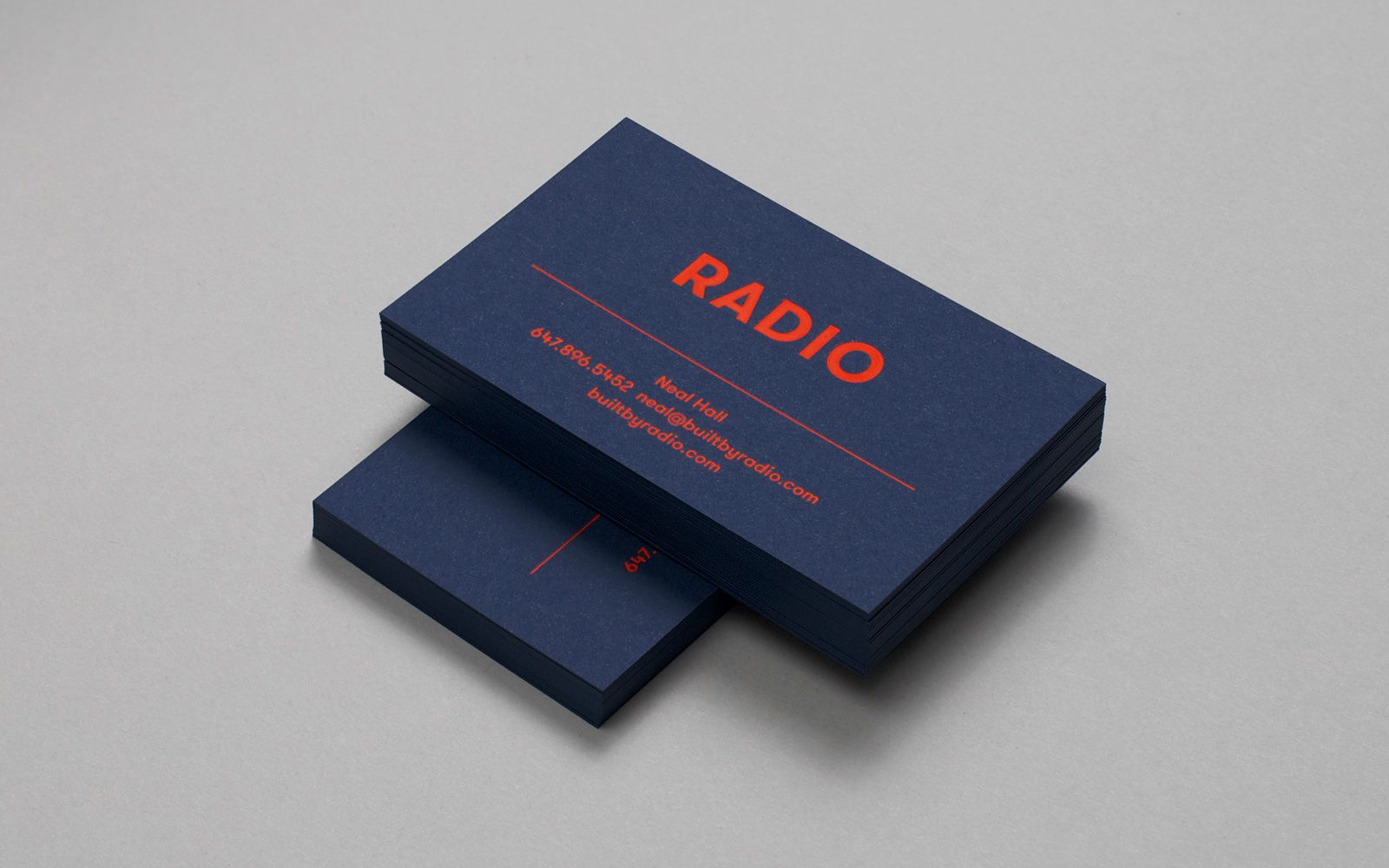 Radio brand identity and business cards with red foil and blue card ...