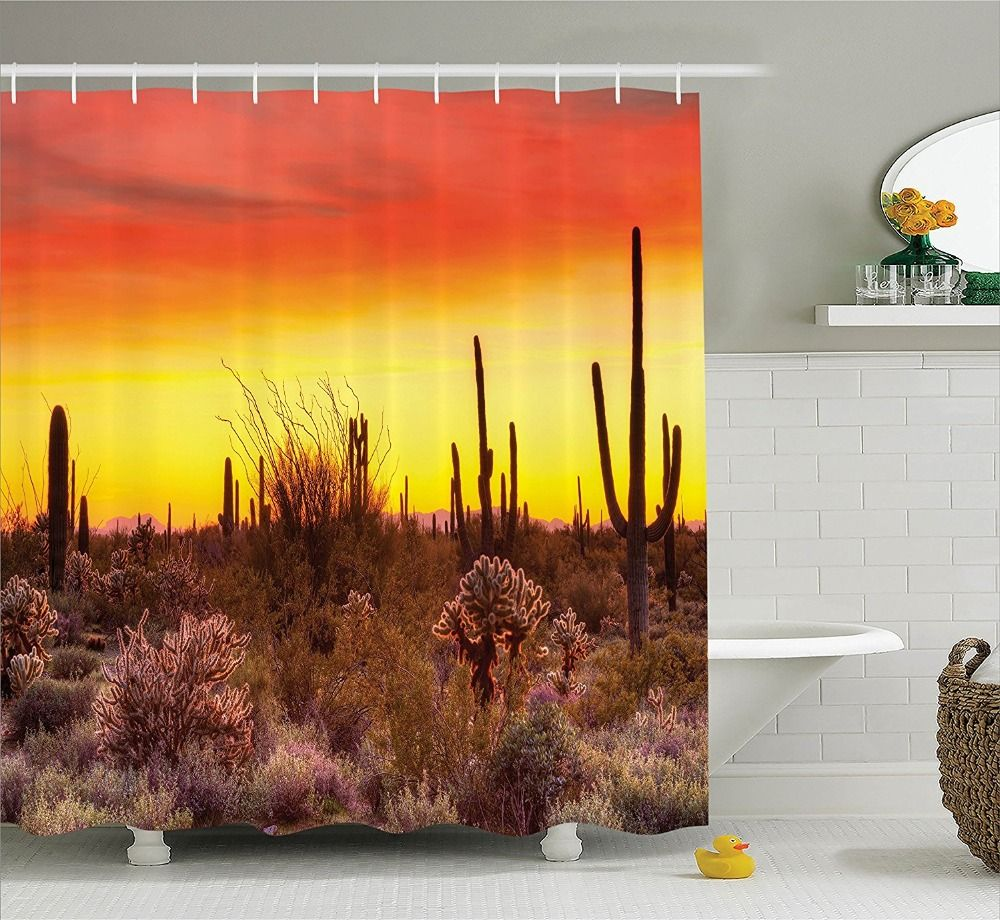 Cactus At Desert Sunset Shower Curtain Printing Waterproof