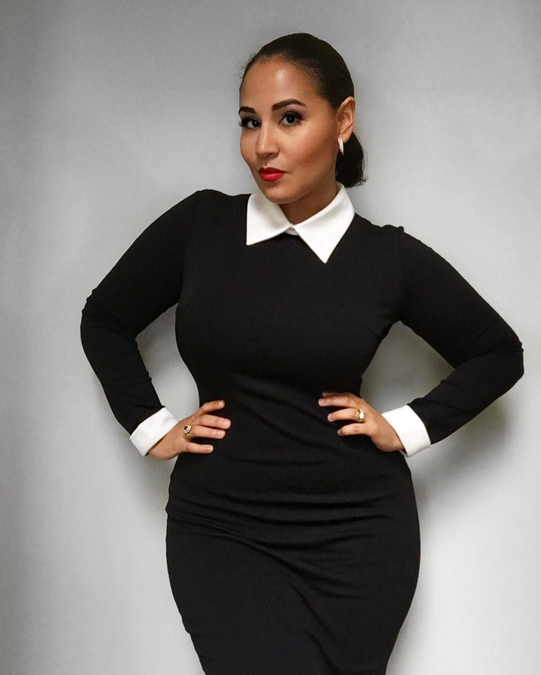 Channeling Wednesday Adams With This Fitted Black Sweater Dress With White Collar And Cuffs [ 1349 x 1080 Pixel ]