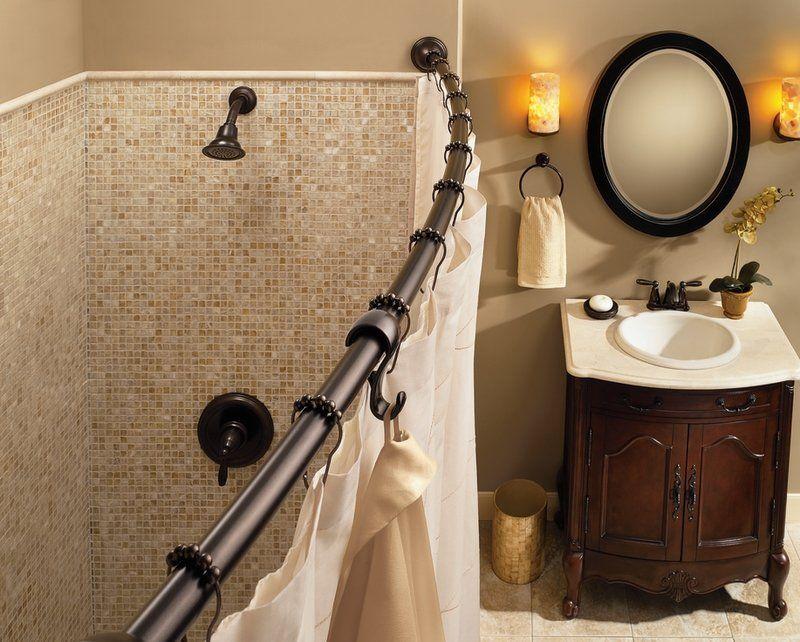 Moen 72 In Adjustable Length Curved Shower Rod Set In Old World