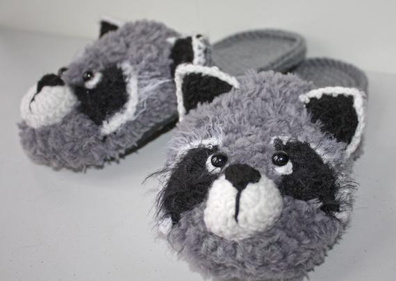 Photo of Raccoon slippers, wild woodland raccoon slippers, hand made slippers, unique gift, gifts for teenager, fashionable gift, fun baby gift
