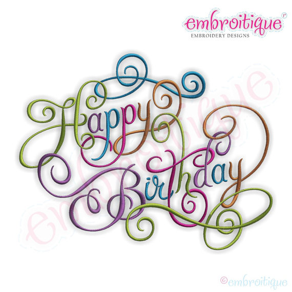 Happy Birthday Calligraphy Script 2 Embroidery By