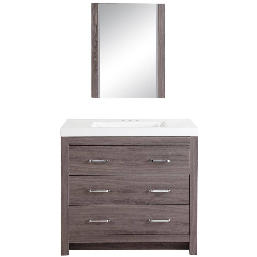 Glacier Bay Woodbrook 36 In Bathroom Vanity In Dark Oak With Cultured Marble Vanity Top In White With Wh Bathroom Vanity Bathroom Vanities Without Tops Vanity