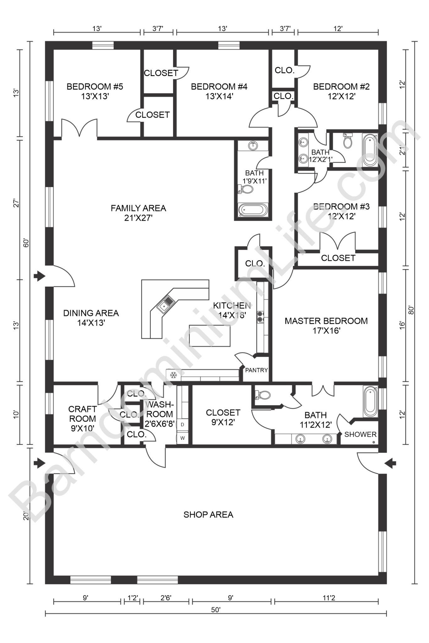 The Absolute Best 5 Bedroom Barndominium Floor Plans In 2020 Barndominium Floor Plans Pole Barn House Plans Barndominium
