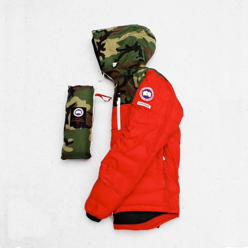 canada goose x concepts lodge hoody (red/camo)