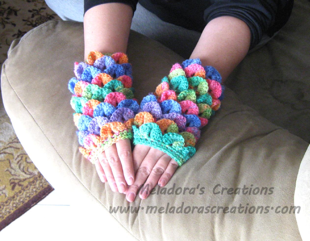Crocodile Stitch Finger less Gloves - Free Crochet Pattern ...