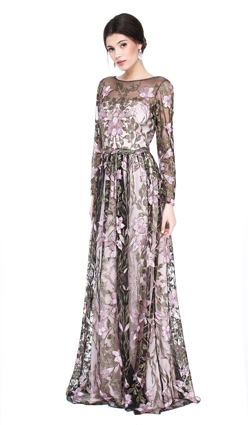 Rose and Green Floral Gown - Mieten Marchesa Notte Kleider ...