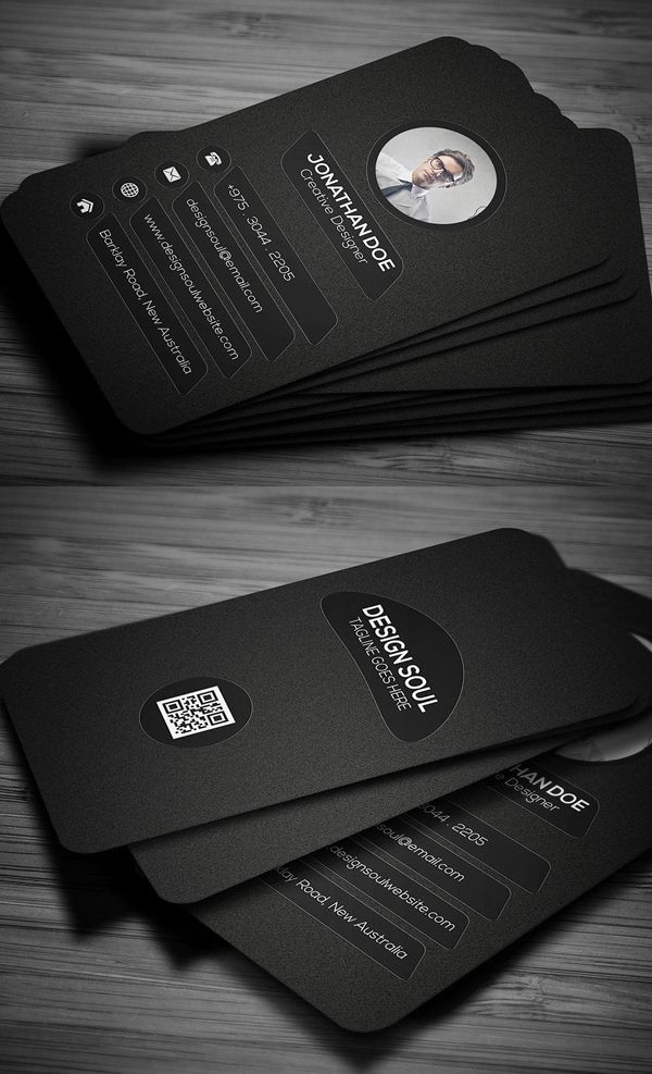 Dark Rounded Corner Business Card Design | 商 業 設 計 | Pinterest ...