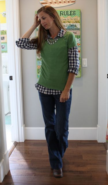 90a377903df21 short sleeve sweater over long sleeve button up. very cute