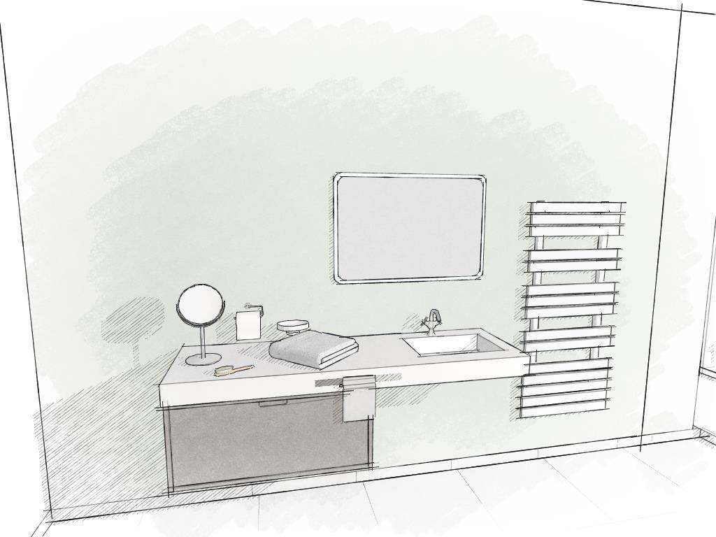 latest dessin de salle de bain par logiciel kodesd rendu crayonn couleur bathroom design by. Black Bedroom Furniture Sets. Home Design Ideas