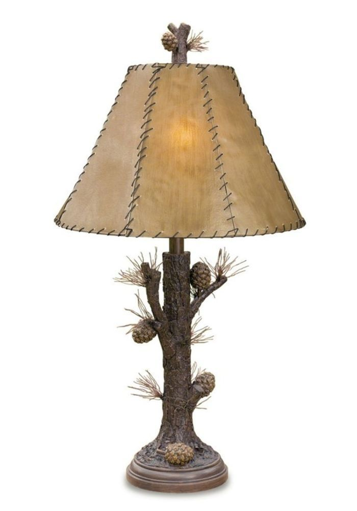 Pinecone rustic table lamp rawhide shade pine tree bark base cabin pinecone rustic table lamp rawhide shade pine tree bark base cabin lodge 31h mozeypictures Images