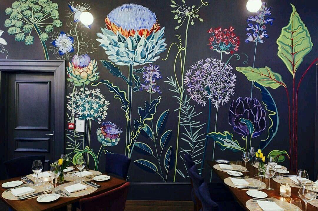 Flower Mural Mural Ideas Wall Ideas Garden Mural Painted Wall
