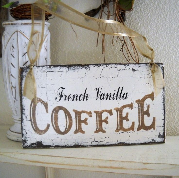 Coffee Signs For Kitchen   French Vanilla Coffee Shabby Cottage Kitchen Sign