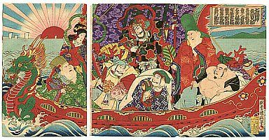 "Japanese Mythology:  In the Japanese language, the seven gods of luck are called Shichi Fukujin, which means ""seven happiness beings""."