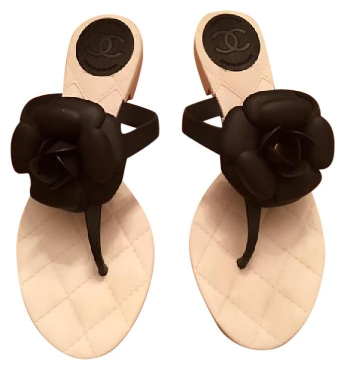 f2818e1f3b84 Chanel Camellia With Quilted Rubber Insoles Cc Thong (37) White And Black  Sandals. Get the must-have sandals of this season! These Chanel Camellia  With ...