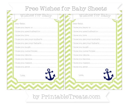 Pastel Lime Green Chevron  Nautical Wishes for Baby Sheets
