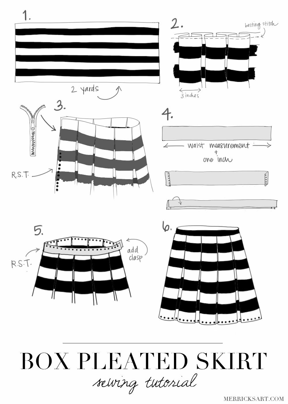 Box Pleated Skirt Tutorial From Merricks Art Sewing Howto