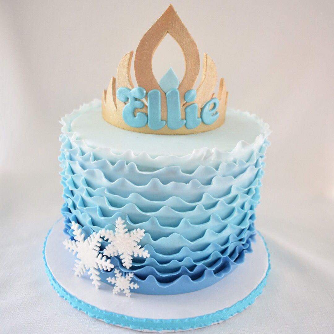 Frozen-themed ombré ruffle cake | Kyrsten's Sweet Designs - Custom-made Cakes and Cookie Favors