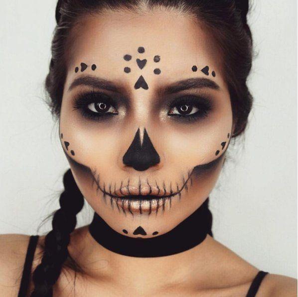 maquillage halloween un cote du visage