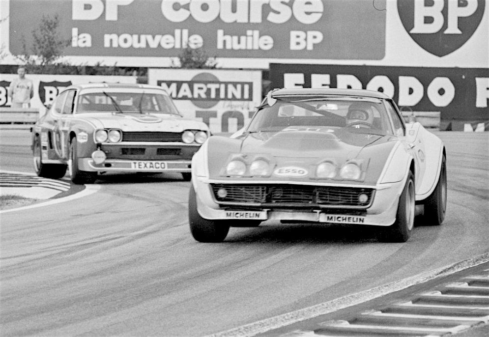 "(30) Henri Greder / ""Marie-Claude Beaumont"" - Chevrolet Corvette - Greder Racing - (Probably) (53) Helmuth Koinigg / Jean Vinatier / Gerry Birrell - Ford Capri LV - Ford - XLI Grand Prix d`Endurance les 24 Heures du Mans - 1973 World Championship for Makes, round 8 - Challenge Mondial, round 4 - Campeonato de España de Conductores de Velocidad en Circuito para Vehiculos de Gran Turismo-Sport, round 3"