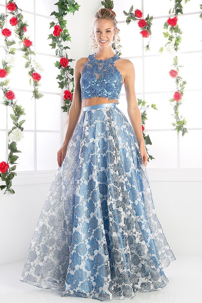 0d6b1570fc3 Designer elegant Runway 2 Piece Perry Blue Long Prom Dress Floral Ball Gown   600  Unbranded  Formal
