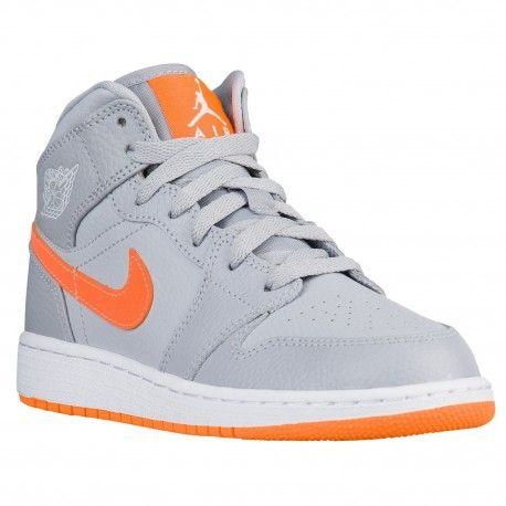 81ea5d7aecba Jordan AJ 1 Mid - Boys  Grade School - Basketball - Shoes - Wolf ...