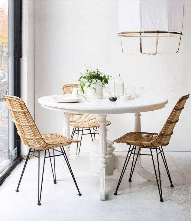 This Dining Chair Features A Solid Black Metal Frame With Woven Rattan Available