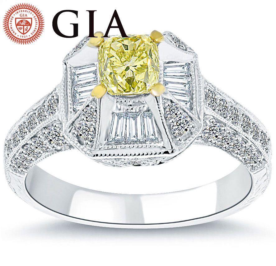 1.86 Carat GIA Certified Fancy Yellow Cushion Cut Diamond Engagement Ring 18k