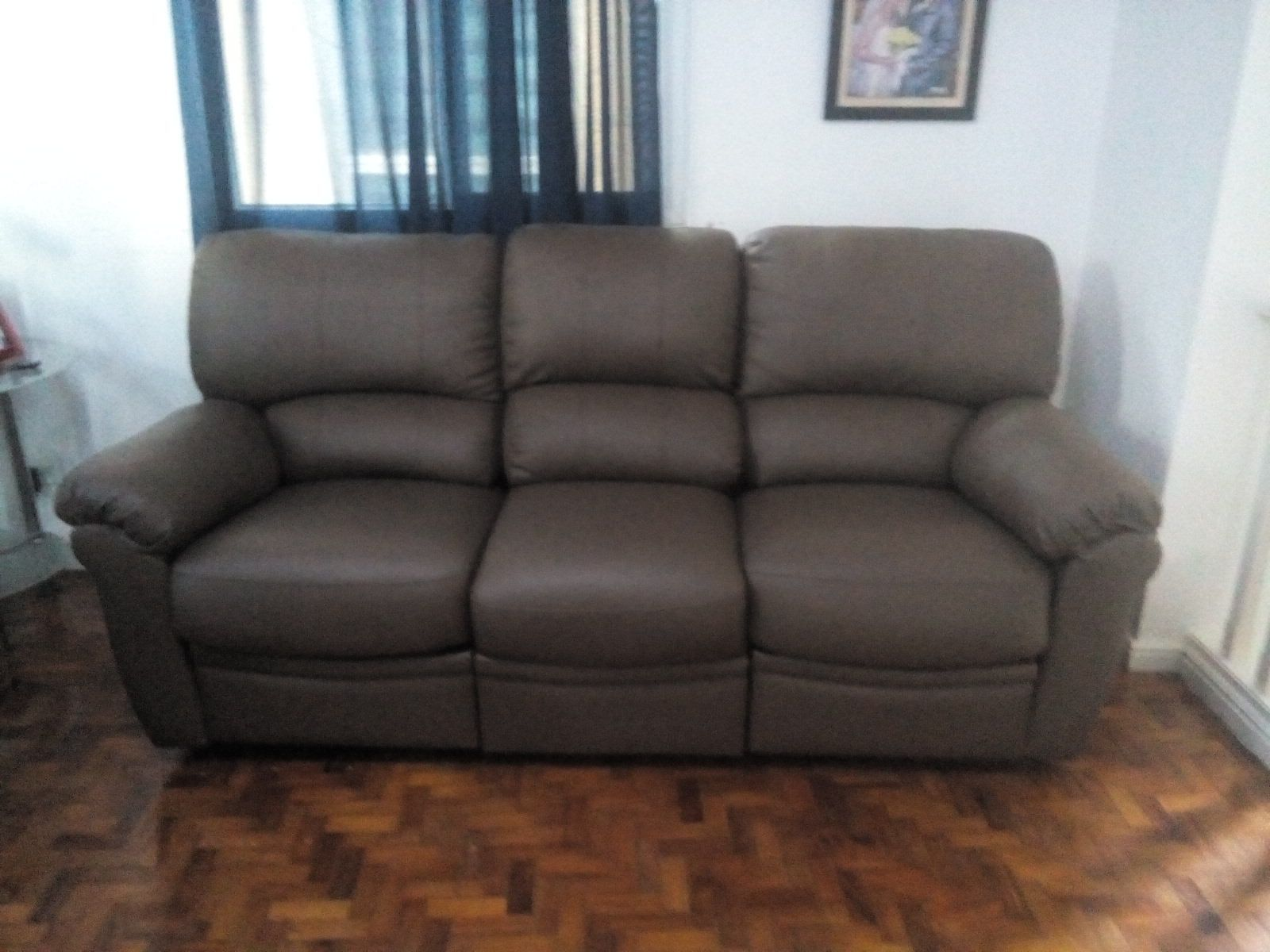 Seater Recliner Sofa Leather Soft Cedar