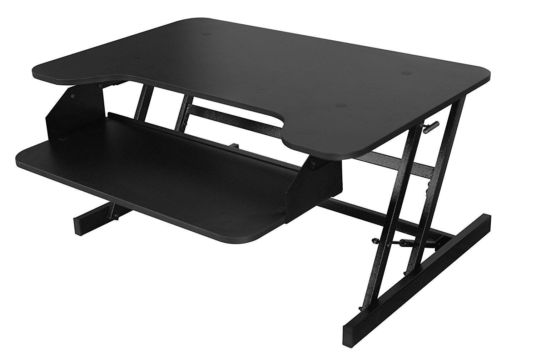 amazon com sit stand desk w retractable keyboard tray height rh pinterest com
