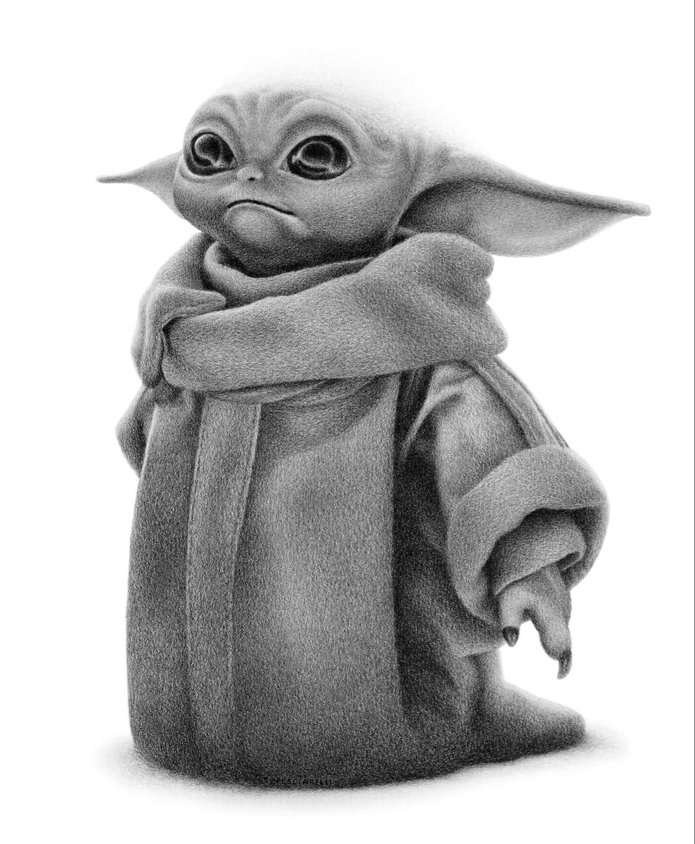 Baby Yoda Pencil Drawing Commission Your Own Personalized Baby Yoda Drawing Yoda Drawing Yoda Art Star Wars Drawings