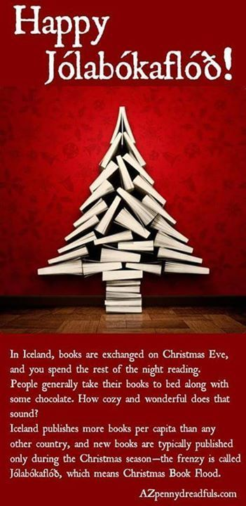 jolabokaflod is an icelandic tradition whereby people give each other a book on christmas eve - Merry Christmas In Icelandic