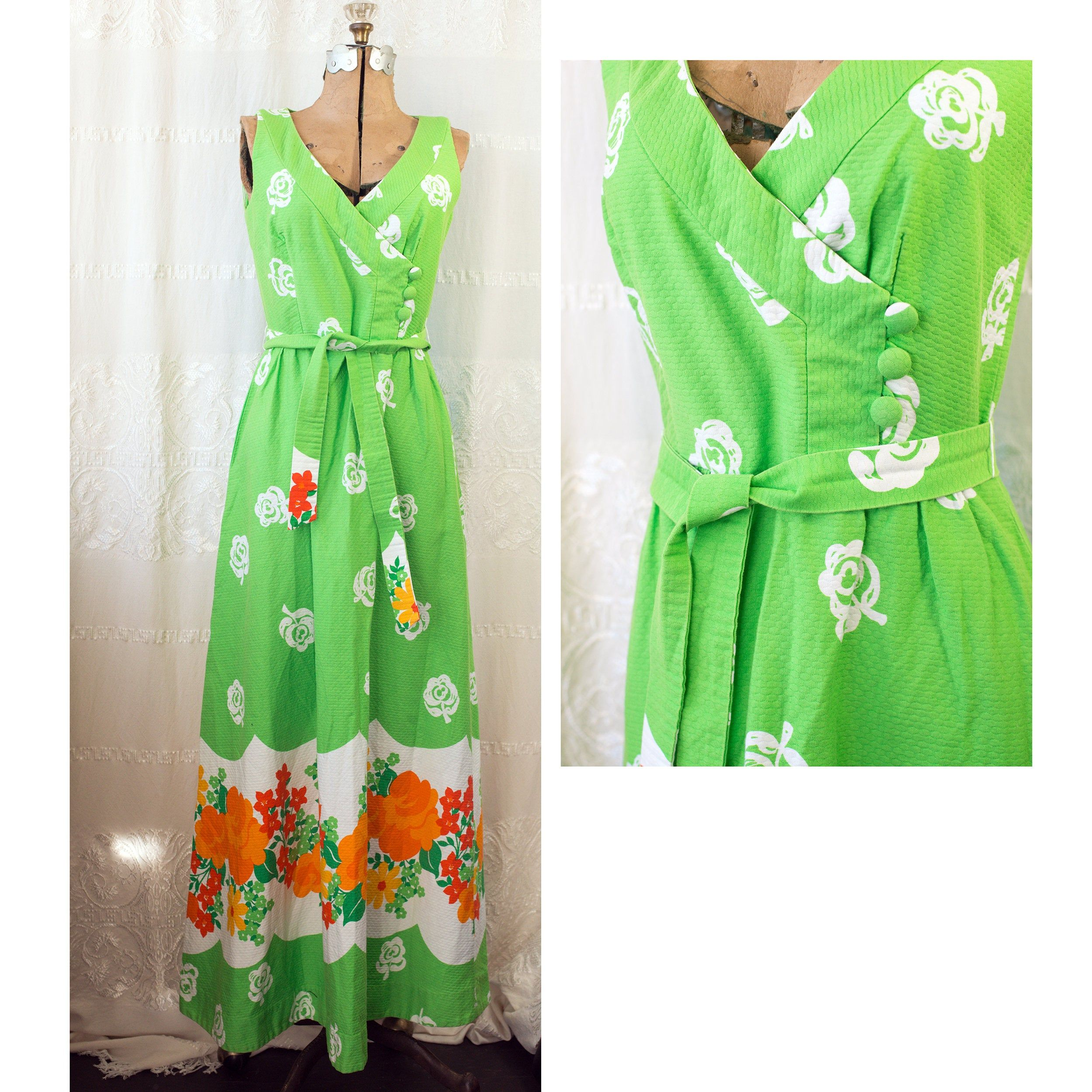 1960's Or 70's Hawaiian Cotton Floral Maxi Dress With Tie