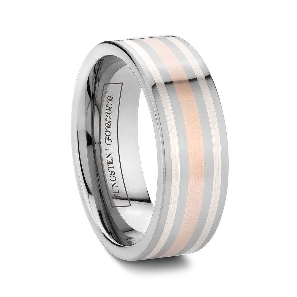 Mens Rose And White Gold Wedding Band Rings For Men Mens Wedding Rings Tungsten Mens Rings